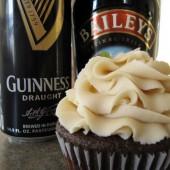 Guinness and Baileys Irish Cream Cupcakes