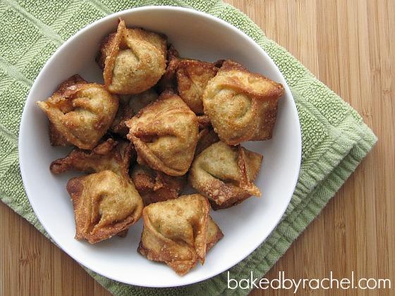 Pork stuffed wontons recipe from bakedbyrachel.com