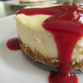 Lemon Cheesecake with Raspberry Sauce