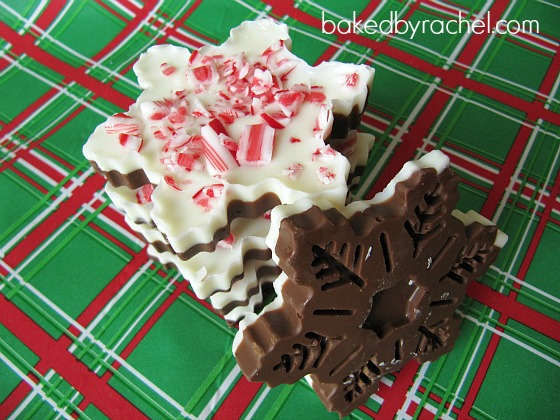Snowflake Peppermint Bark Recipe from bakedbyrachel.com