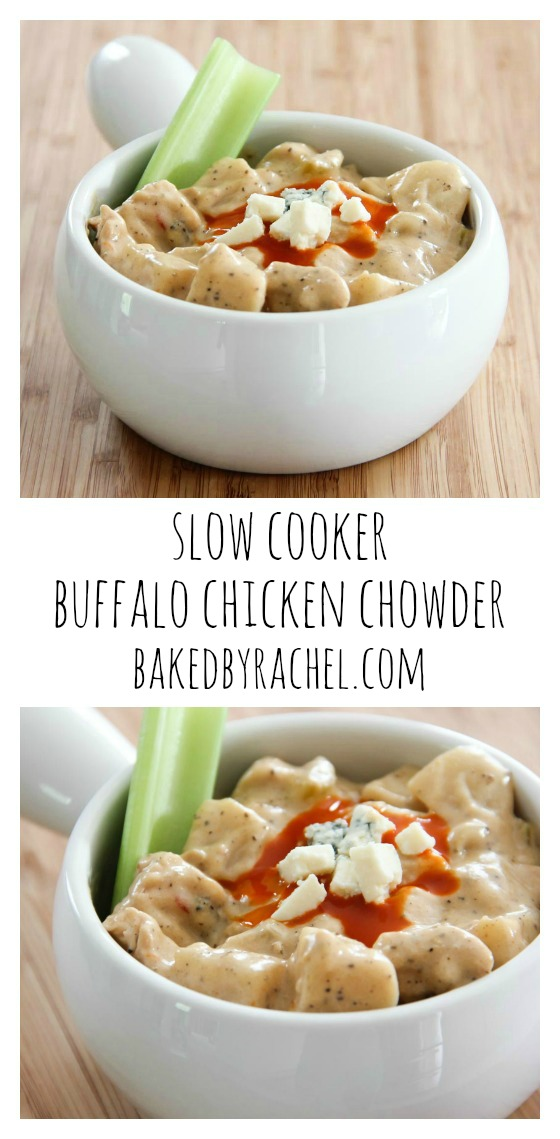 Slow cooker buffalo chicken chowder recipe from @bakedbyrachel