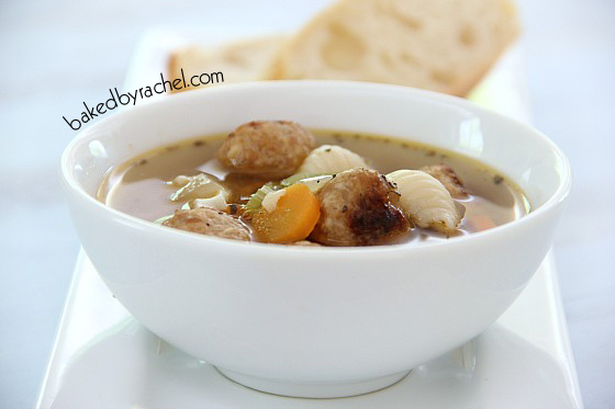 Slow Cooker Mini Meatball Minestrone Soup Recipe from bakedbyrachel.com