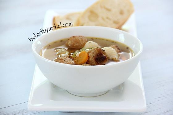Slow Cooker Mini Meatball Minestrone Soup Recipe from bakedbyrachel.com
