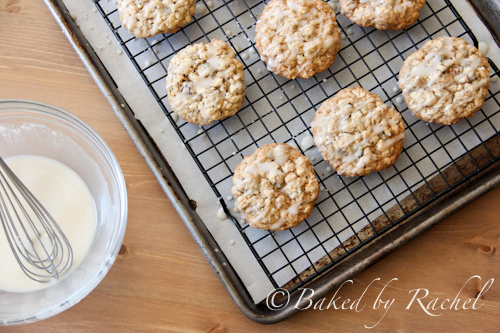 applesauce oatmeal cookies with maple glaze - baked by rachel