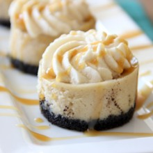 Mini Coffee Cheesecakes with Caramel Whipped Cream