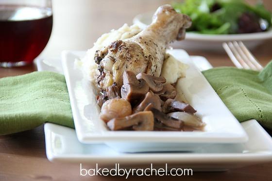 Coq Au Vin (Chicken with Wine) Recipe from bakedbyrachel.com