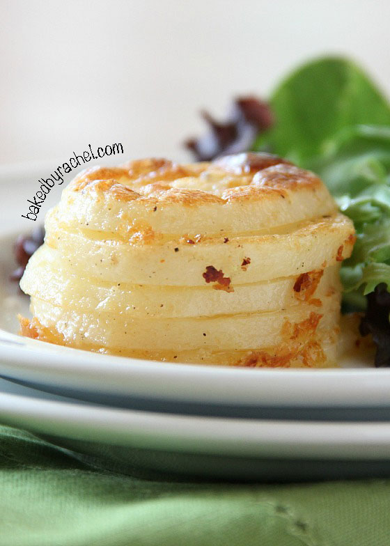 Parmesan Scalloped Potato Stacks Recipe from bakedbyrachel.com