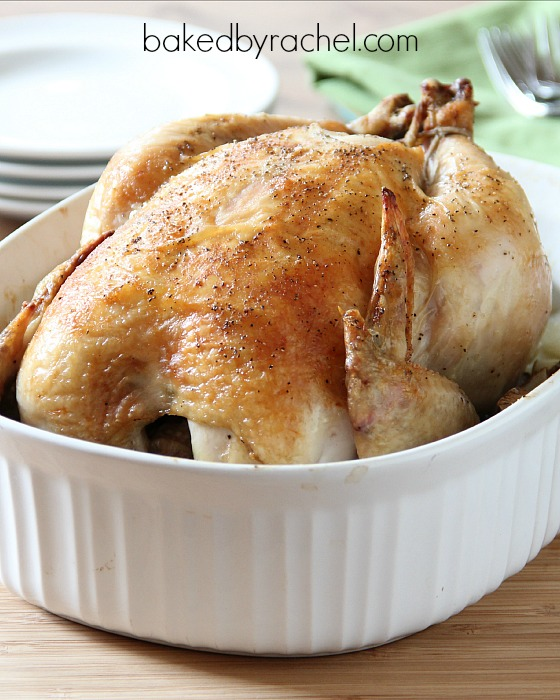 Easy roast chicken. A perfect one dish dinner! Recipe at bakedbyrachel.com