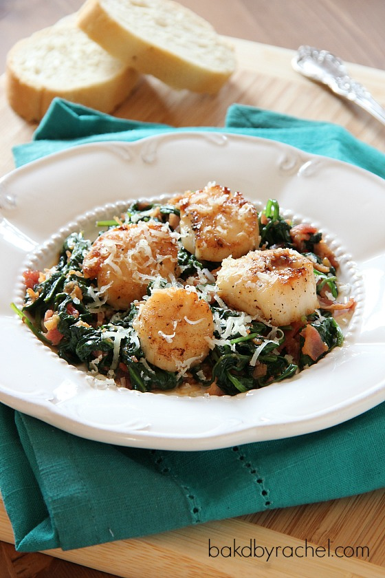 Pan Seared Scallops with Spinach and Bacon Recipe from bakedbyrachel.com