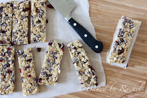 Cranberry Chocolate Chip Granola Bars - bakedbyrachel.com