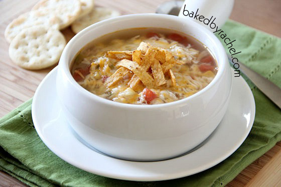 The best slow cooker chicken tortilla soup! Recipe by @bakedbyrachel