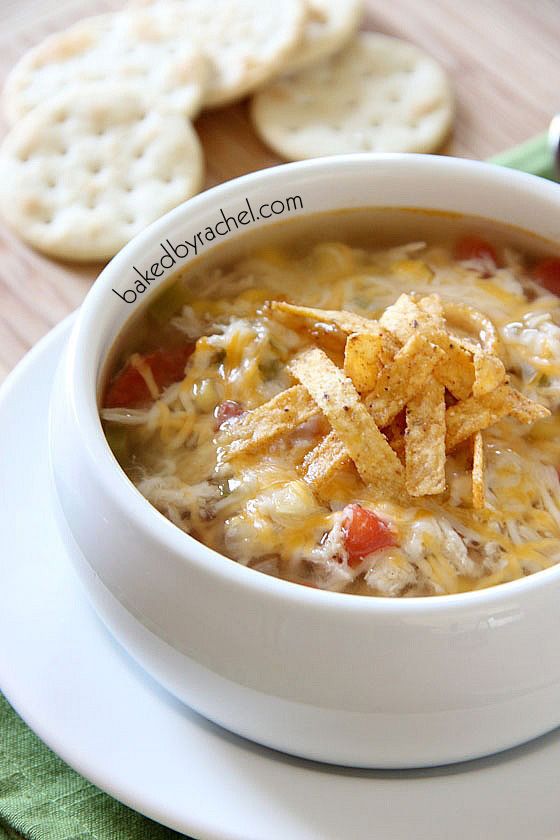 Slow Cooker Chicken Tortilla Soup Recipe from bakedbyrachel.com