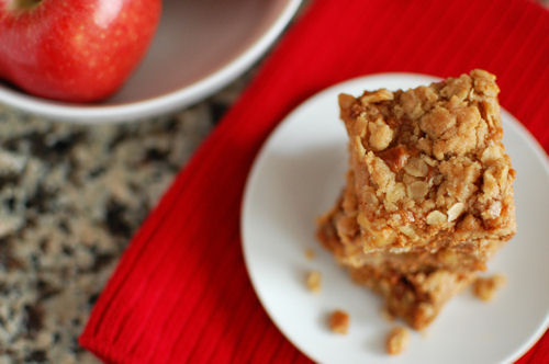 Apple Oat Dulce De Leche Bars by Beantown Baker on bakedbyrachel.com