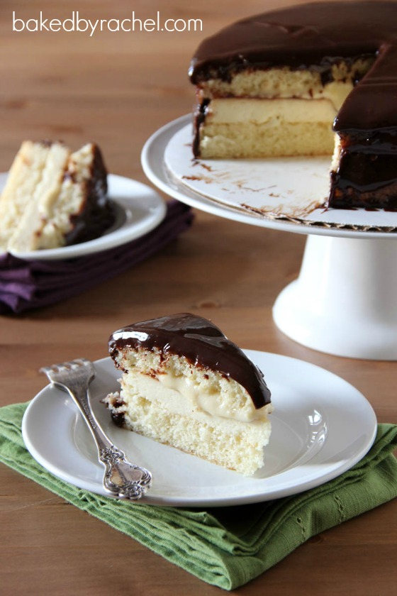 Boston Cream Pie Cheesecake Cake Recipe from bakedbyrachel.com