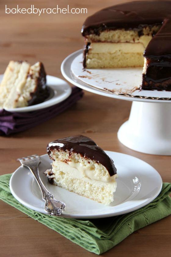 Boston Cream Pie Cheesecake Cake Recipe from bakedbyrachel.com
