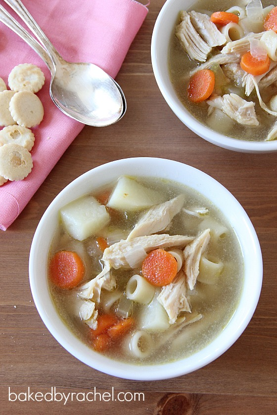 Leftover Turkey and Potato Soup Recipe from bakedbyrachel.com