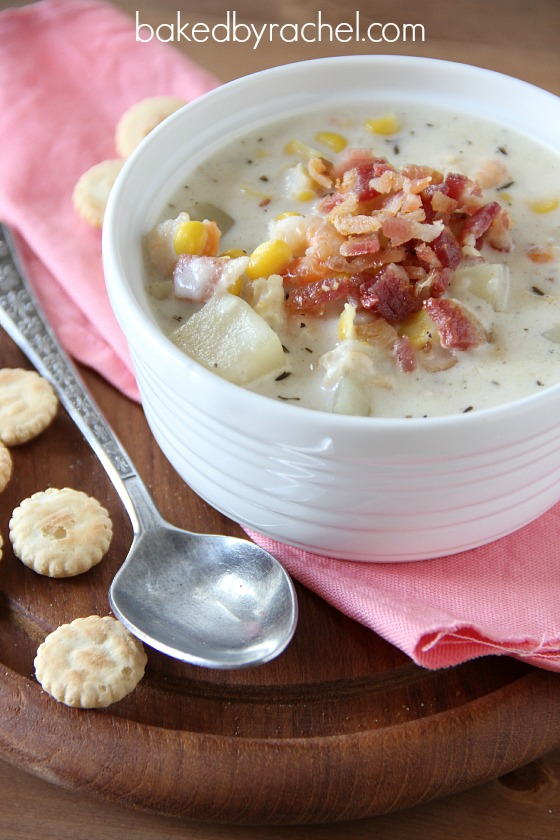 Slow Cooker Corn and Bacon Chowder with Shrimp Recipe from bakedbyrachel.com