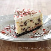 White Chocolate Peppermint Bark Cheesecake - bakedbyrachel.com
