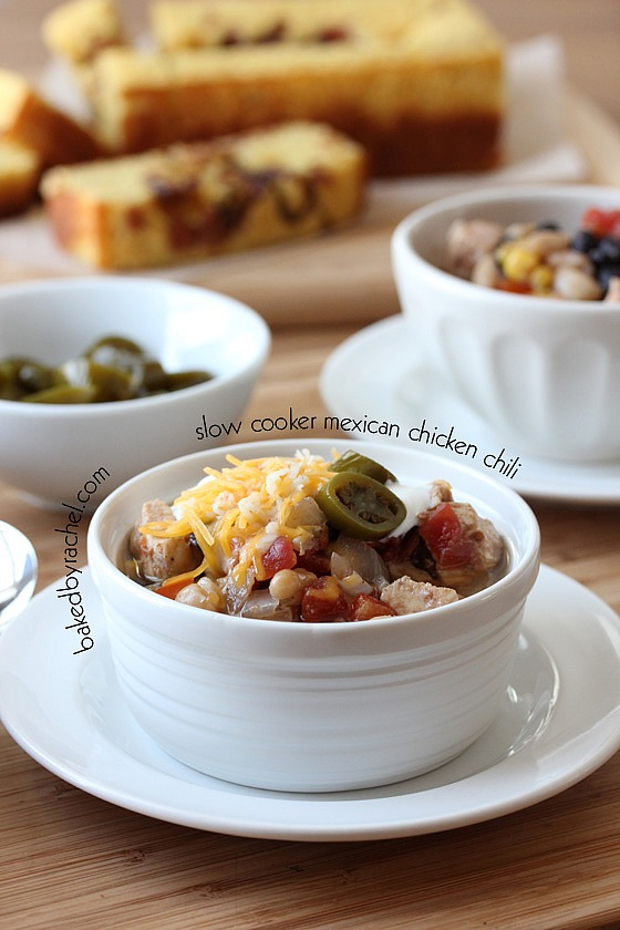 Slow Cooker Mexican Chicken Chili Recipe from bakedbyrachel.com