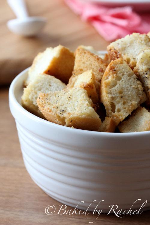 Garlic and Parmesan Croutons - bakedbyrachel.com