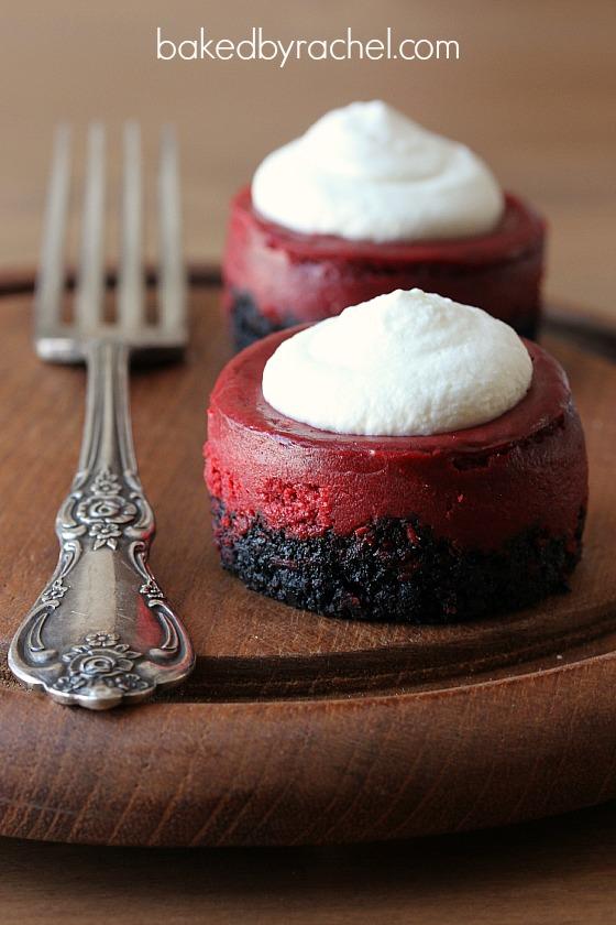 Mini Red Velvet Cheesecake Recipe from bakedbyrachel.com