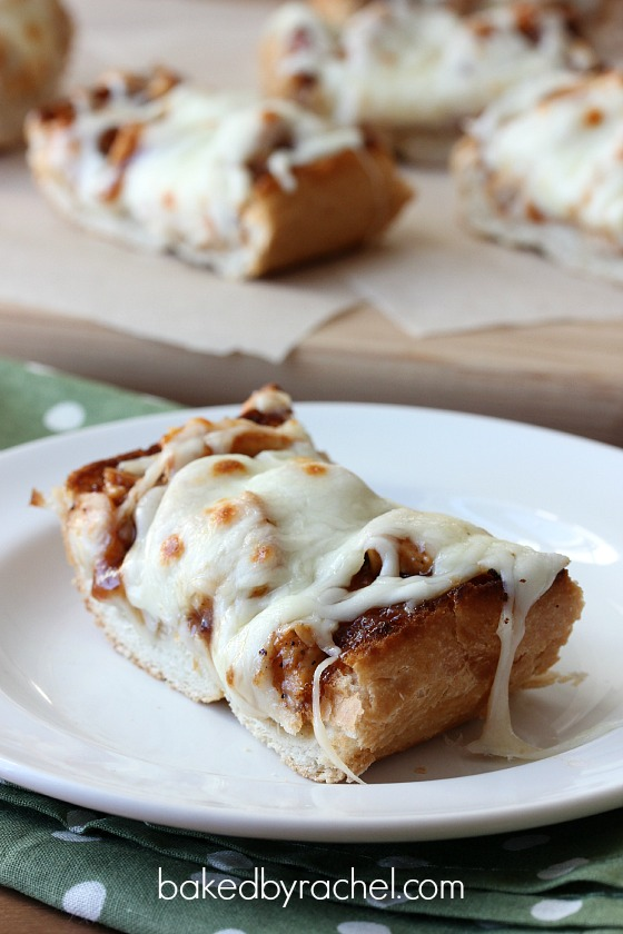 Barbecue Chicken French Bread Pizza Recipe from bakedbyrachel.com