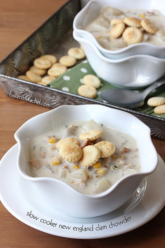 Slow Cooker New England Clam and Corn Chowder Recipe from bakedbyrachel.com