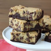 Chocolate Chip Cookie Brownie Bar Recipe - bakedbyrachel.com