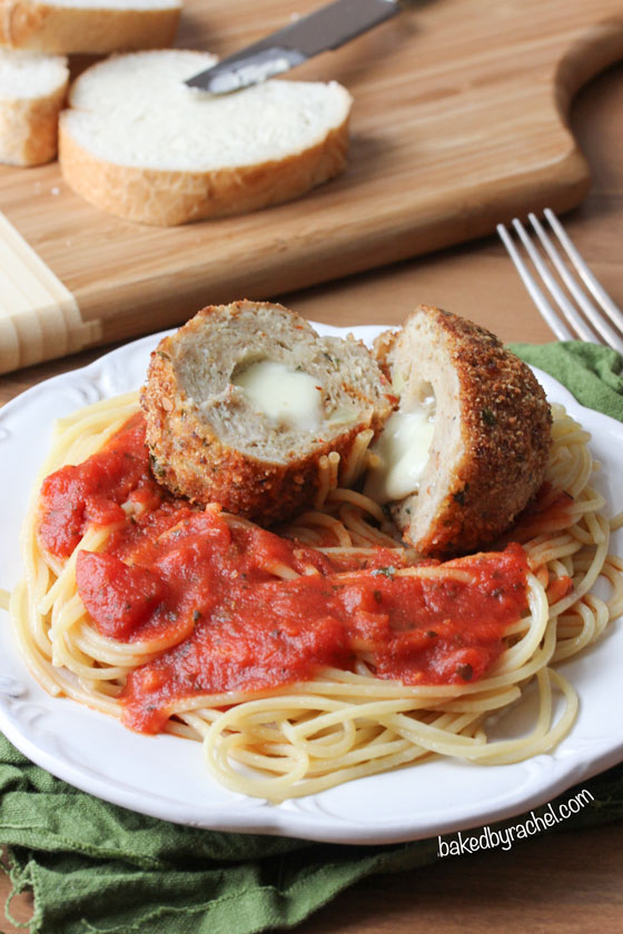 Chicken Parm Meatballs Recipe from bakedbyrachel.com