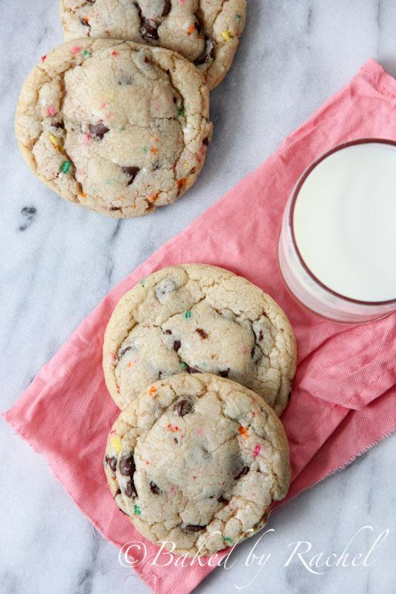 Cake Batter Funfetti Chocolate Chip Cookies Recipe - bakedbyrachel.com