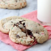 Cake Batter Funfetti Chocolate Chip Cookies Recipe - bakedbyrachel.com