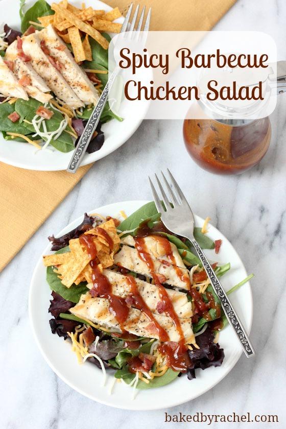 Spicy Barbecue Chicken Salad Recipe - bakedbyrachel.com
