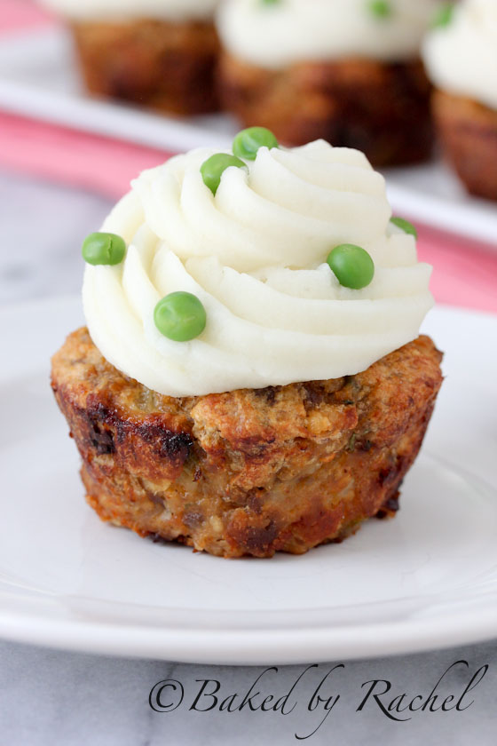 Buffalo Chicken Meatloaf Cupcakes with Mashed Potato Frosting Recipe - bakedbyrachel.com