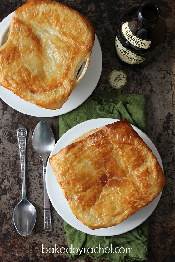 Beef and Guinness Pies with Puff Pastry Recipe from bakedbyrachel.com