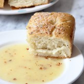 Thick Focaccia Bread with Garlic and Cheese Dipping Oil Recipe - bakedbyrachel.com