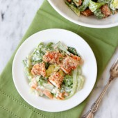 Buffalo Chicken Tender Salad with Blue Cheese Dressing Recipe from bakedbyrachel.com