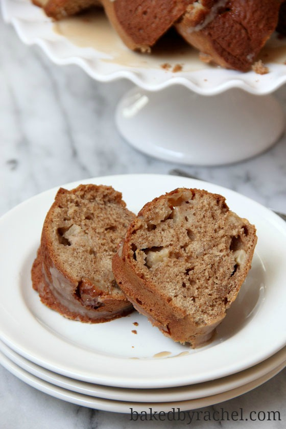 Brown Sugar Apple Cinnamon Bundt Cake with Caramel Icing from bakedbyrachel.com