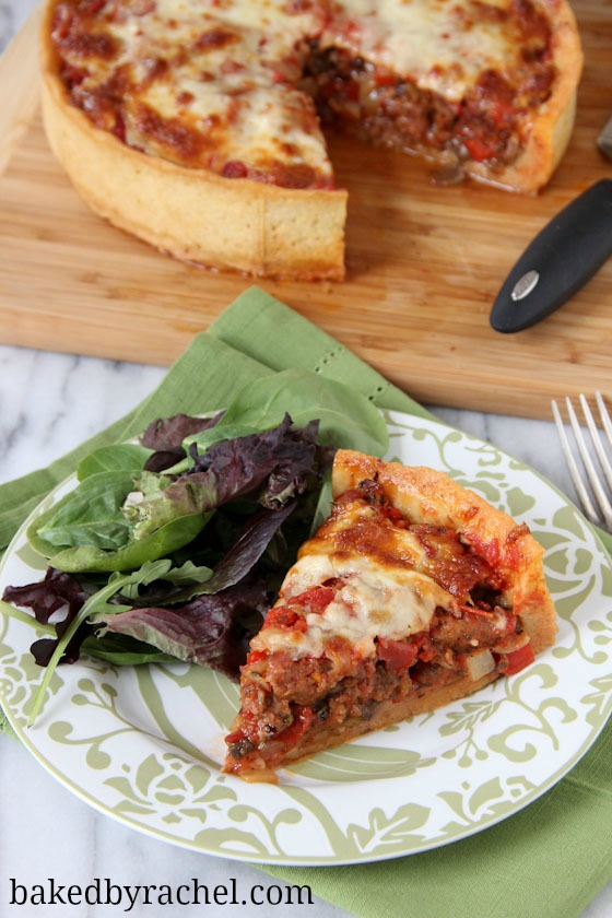 Deep Dish Chicago Style Pizza Recipe from bakedbyrachel.com