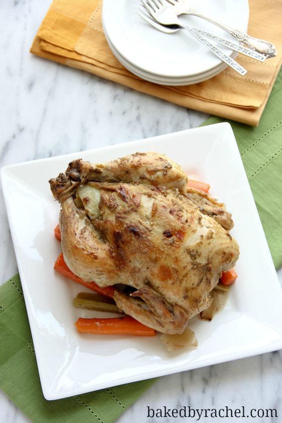 Garlic and Dijon Slow Cooker Chicken Recipe from bakedbyrachel.com