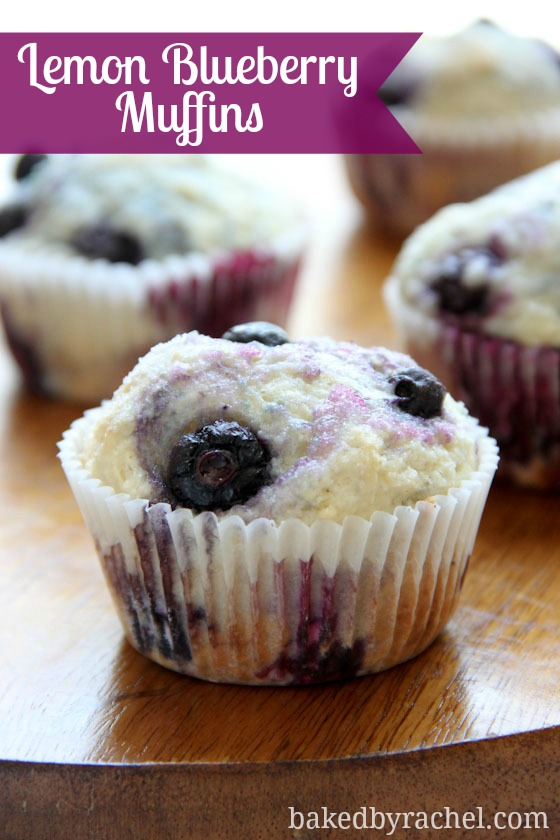 Lemon Blueberry Muffins Recipe from @bakedbyrachel