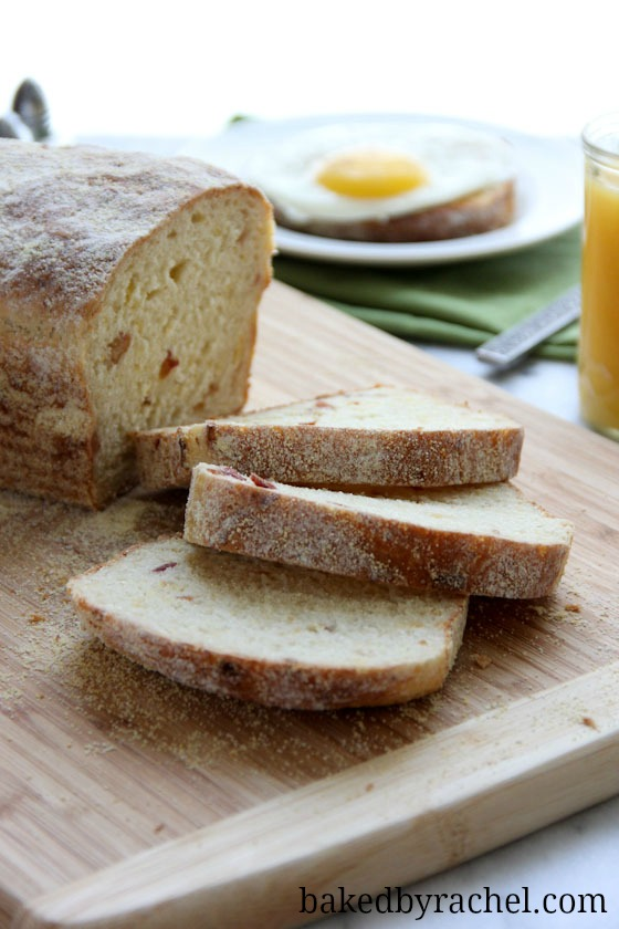 Bacon and Cheddar English Muffin Bread Recipe from bakedbyrachel.com