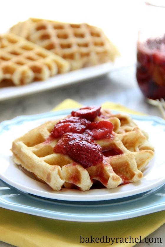 Crisp Buttermilk Waffles with Roasted Strawberries Recipe from @bakedbyrachel