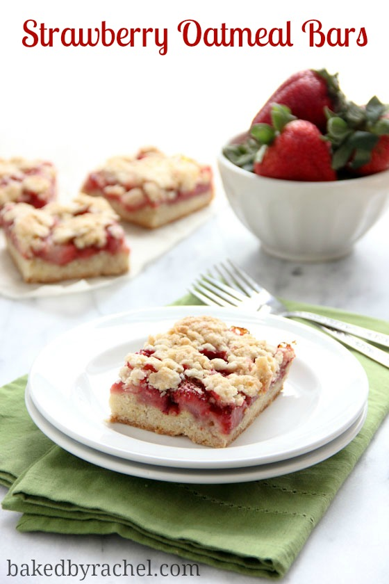Strawberry Oatmeal Crumb Bars Recipe from bakedbyrachel.com