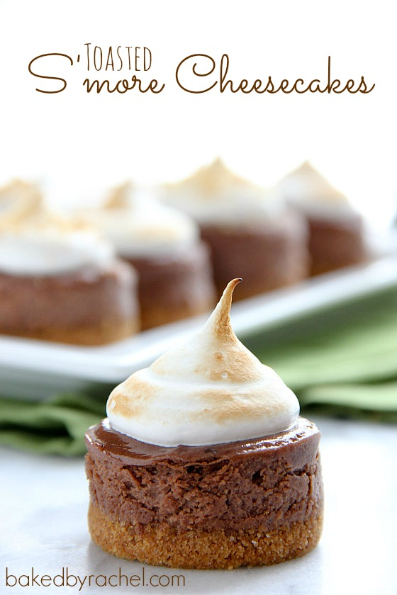 Mini Toasted S'more Cheesecakes Recipe from bakedbyrachel.com
