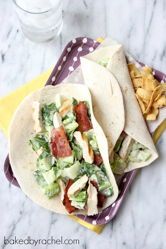 Chicken Caesar Salad Wraps with Bacon Recipe from bakedbyrachel.com