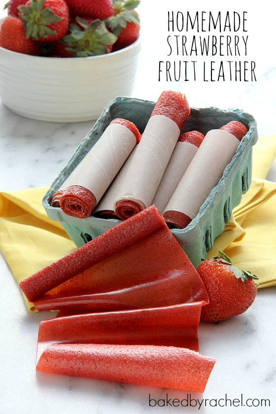 Easy Homemade Strawberry Fruit Leather Recipe from @bakedbyrachel
