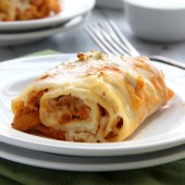 Buffalo Chicken Lasagna Rolls Recipe from bakedbyrachel.com