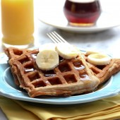 Banana Cinnamon Waffles Recipe from bakedbyrachel.com