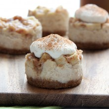 Mini Apple Pie Cheesecakes with Brown Sugar Whipped Cream Recipe by bakedbyrachel.com