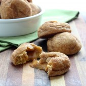 Caramel Stuffed Pumpkin Snickerdoodle Cookies Recipe from bakedbyrachel.com